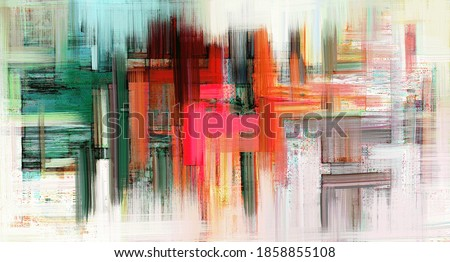 Modern artwork on white canvas. Digital brush strokes like oil painting. Vibrant paint, background illustration