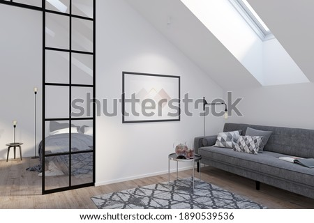 Modern attic with a horizontal poster on a white wall between a gray sofa with a coffee table and a glass partition. There are a roof window and a carpet on the wooden floor in the room. 3d render ストックフォト ©