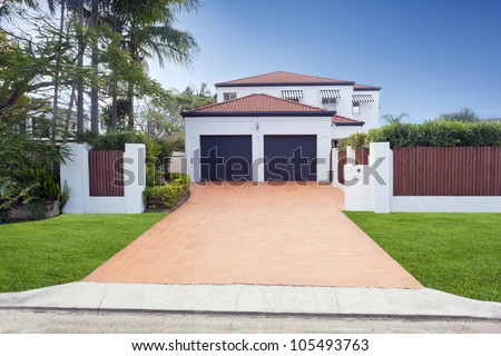 Modern Australian house front - stock photo