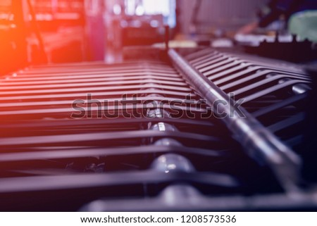 Modern automated production line in factory. Plastic bag manufacturing process. Background #1208573536