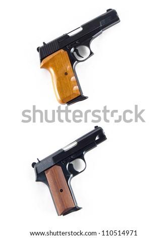 Modern automatic handgun pistols isolated on white background