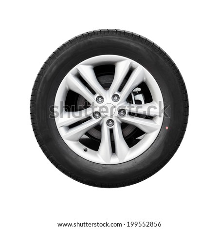 Modern automotive wheel isolated on white #199552856