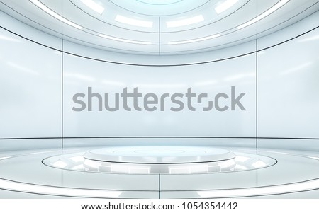 Modern background and empty stage. Future modern interior concept. 3d illustration