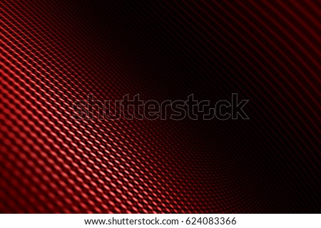 Modern background with distorted red carbon fiber smooth on surface under angle.