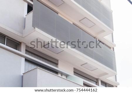 modern balconies. modern balconies in gray #754444162