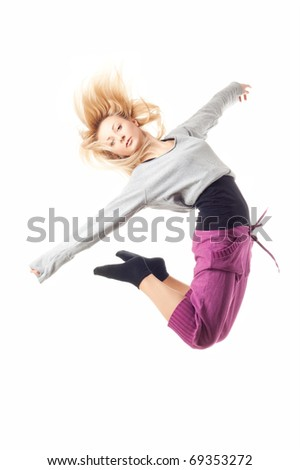 modern ballet dancer dancing on the white studio background