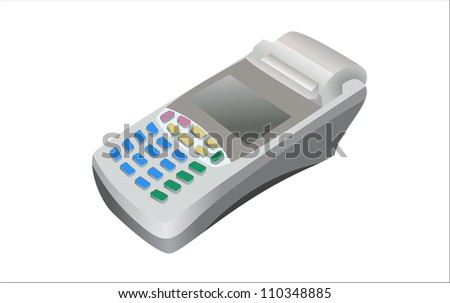 Modern bank terminal on the white