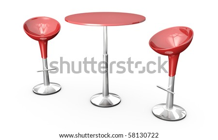Modern bar table with two chairs on white background. 3D rendered image.