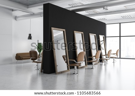 Modern barber shop corner with white and black walls, tall mirrors and comfortable beige chairs. 3d rendering
