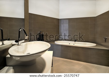 Modern bathroom design.