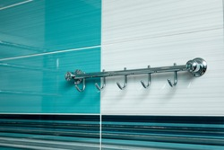 Modern bathroom design in blue. No brandnames or copyright objects.