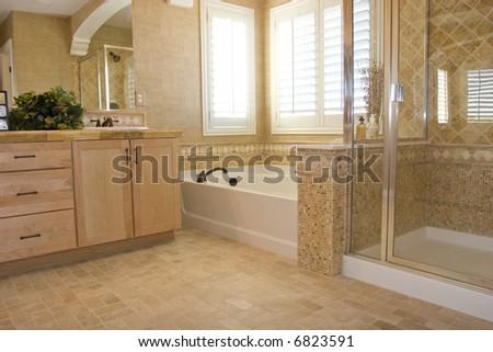 Modern bathroom in a house - stock photo
