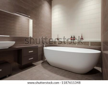Modern bathroom in beige tones