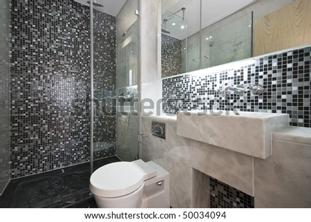 Modern Bathroom In Black And White With Mosaic Tiled Walls And ...