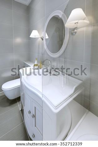 Modern bathroom in clical style. Idea of light grey bathroom ... on grey small bathroom designs, grey crushed granite, grey flooring, grey granite tops, grey bathroom decorating, grey storage, grey office cabinets, grey master bathrooms, grey kitchen cabinets, grey bathroom quartz, grey butcher block countertops, grey bathroom carpet, grey bathroom trim, grey bathroom girls, grey kitchen makeovers, grey bathroom counters, grey modern kitchen designs, grey remodeling ideas, grey kitchen remodel ideas, grey luxury kitchens,
