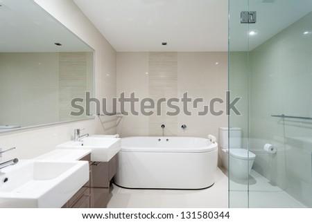 Modern bathroom in luxury apartment #131580344