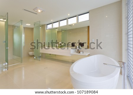 Modern bathroom in luxury Australian house - stock photo