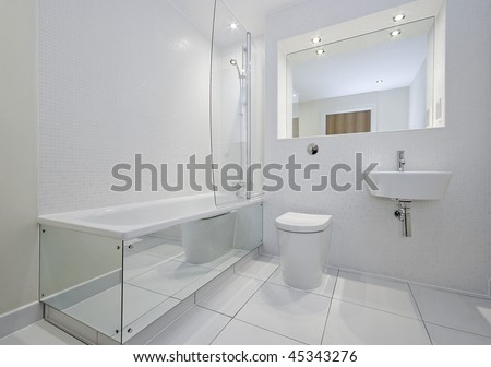 modern bathroom in white with bath tub and shower attachment