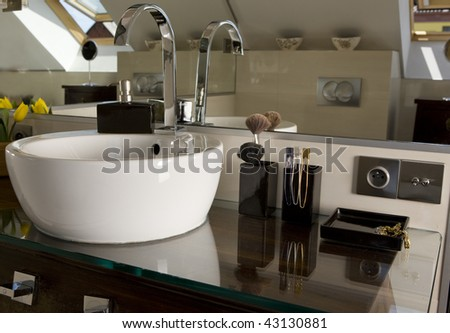 Modern bathroom, including wash basin