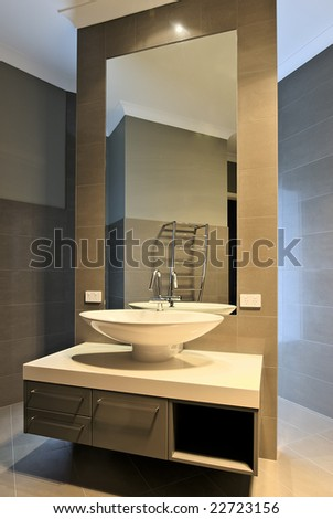 Bathroom Mirrors Contemporary on Modern Bathroom Interior Design  Beautiful Mirror  Basin  Faucet Etc