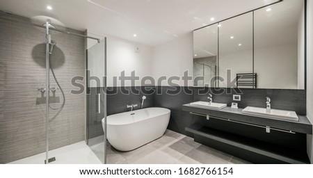 modern bathroom interior design wood and stone Photo stock ©