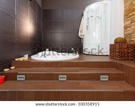 Modern bathroom interior with hydromassage bathtub and shower