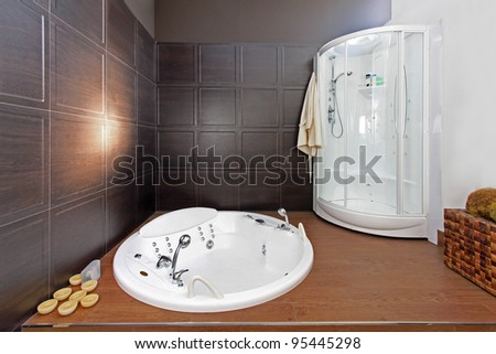 Modern bathroom interior with hydromassage bathtub and shower