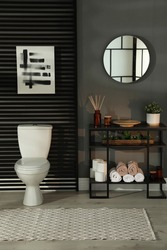 Modern bathroom interior with toilet bowl and console table