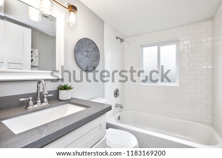 Modern bathroom interior with white vanity topped with gray countertop.
