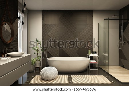 Modern bathroom interior with wooden decor in eco style. 3D Render Photo stock ©
