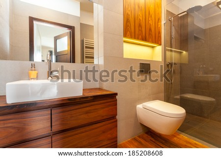 Modern bathroom with a shower and vessel sink #185208608