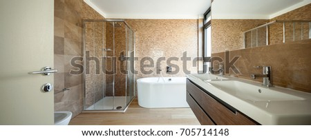 Modern bathroom with a splendid marble. Nobody inside #705714148