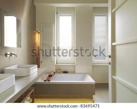 modern bathroom with bathtub