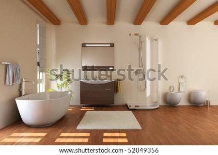 modern bathroom with bathtub and toilet.3d render