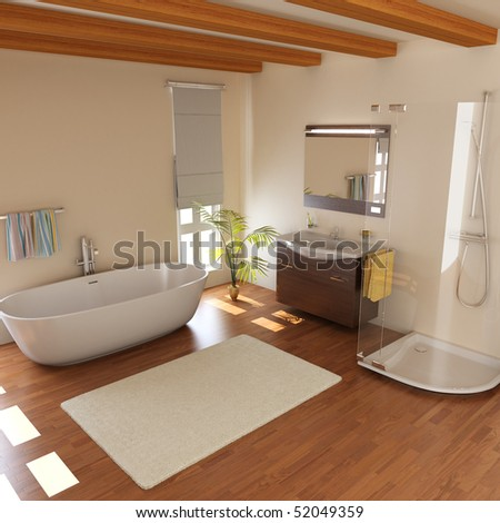 modern bathroom with bathtub.3D render