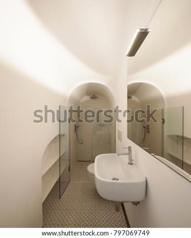 Modern bathroom with floor tiles. Nobody inside #797069749