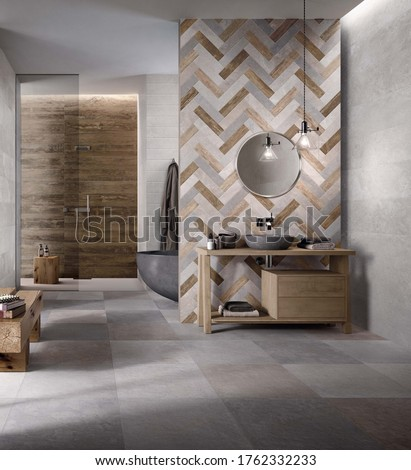Modern bathroom with grey and beige tiles, seamless design, luxurious interior background.