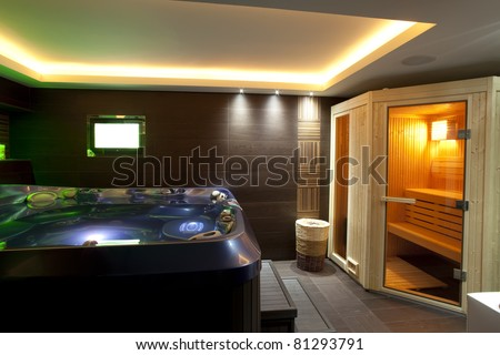 Modern Bathroom With Jacuzzi Bath And Sauna Stock Photo 81293791 ...