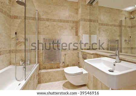 modern bathroom with marble and natural stone