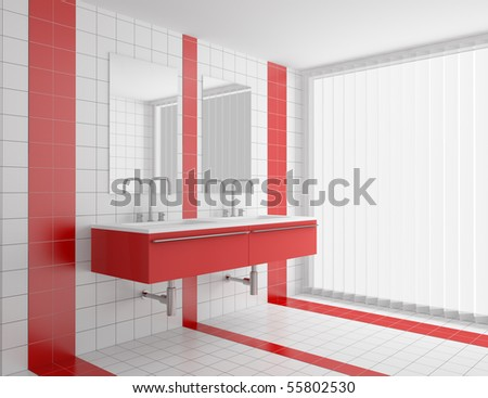 Modern Bathroom With Red And White Tiles On Wall And Floor Ez Canvas