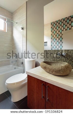 Modern bathroom with rock sink fixture/Vertical shot of a model home bathroom