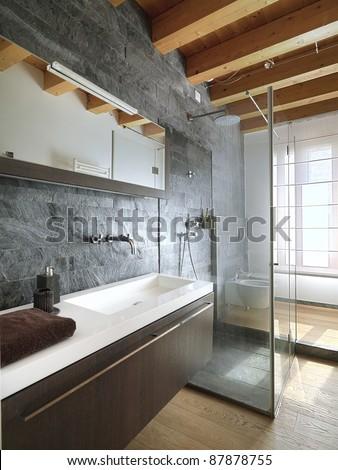 modern bathroom with shower - stock photo