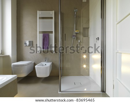 Bathroom on Modern Bathroom With Shower Cubicle Stock Photo 83695465