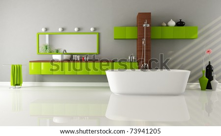modern bathroom with sink bathtub and shower - rendering