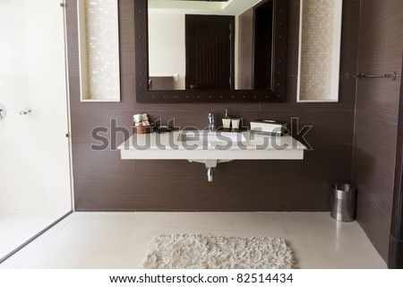 modern bathroom with white wash basin - stock photo