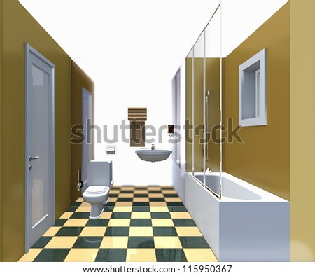 Modern bathroom yellow interior. No brandnames or copyright objects.