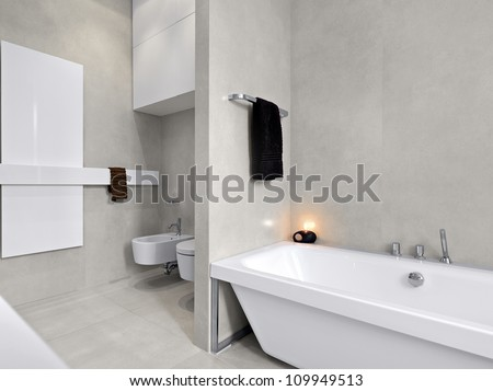 modern bathtub in a modern bathroom with  overlooking on sanitary ware and, marble floor