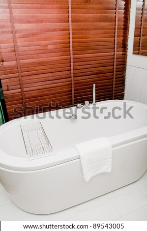 modern bathtub in bathroom