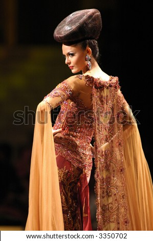 Modern Batik Kebaya Fashion Show by Anne Avantie - stock photo