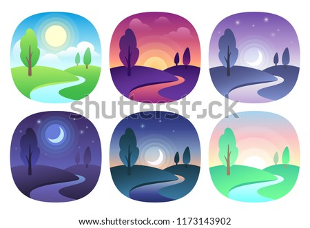 Modern beautiful landscape with gradients. Sunrise, dawn, morning, day, noon, sunset, dusk and night icon. Sun time  icons set. Nature landscapes at different day times